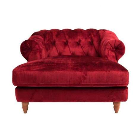Fauteuil de salon long velours rouge