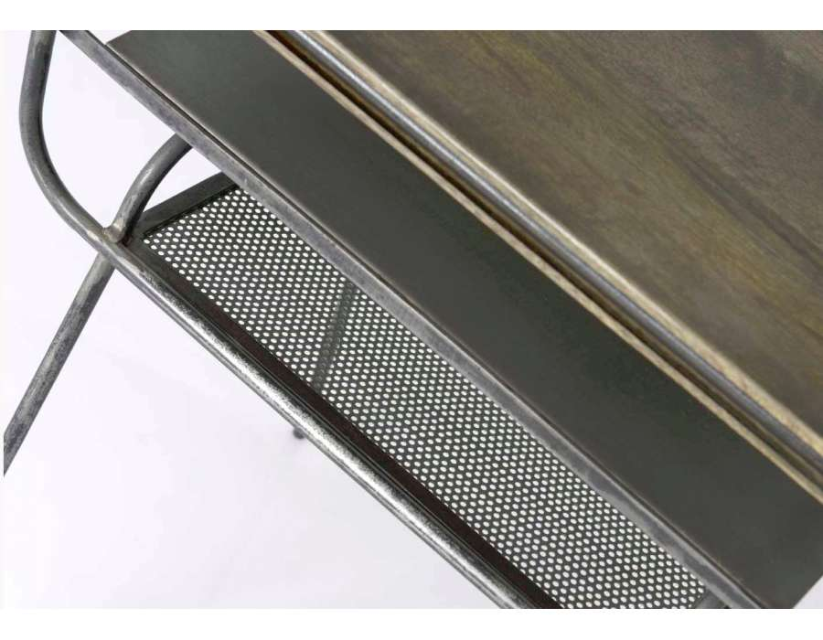 Bout de canapé métal 2 niveaux industriel