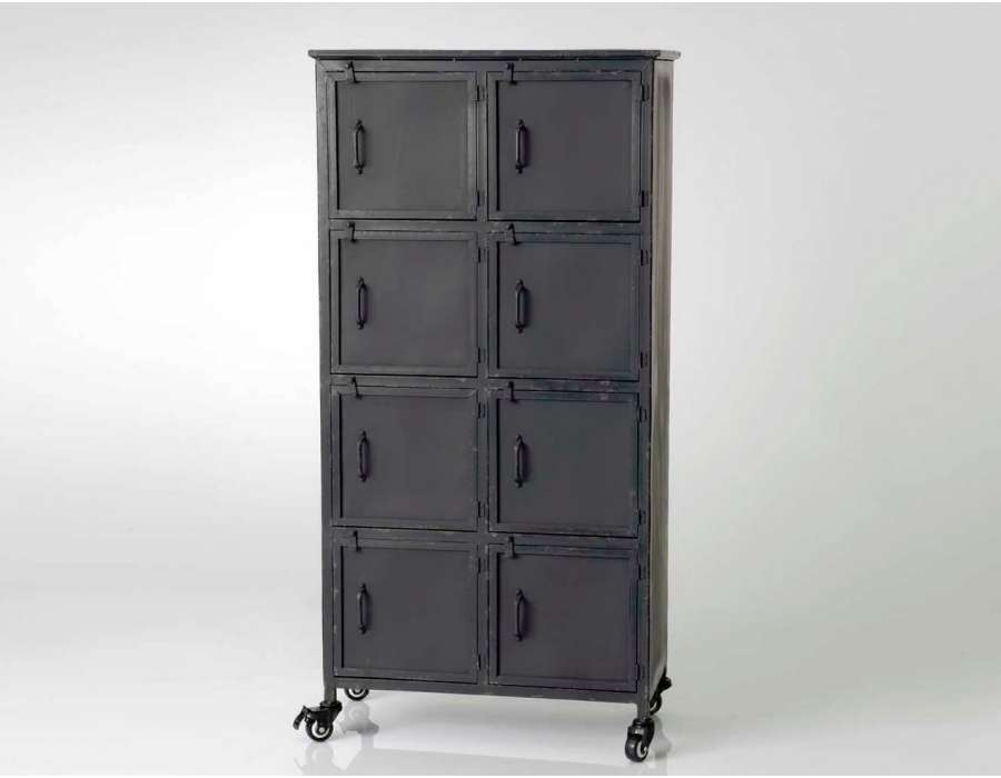 meuble industriel avec 8 casiers en m tal noir. Black Bedroom Furniture Sets. Home Design Ideas