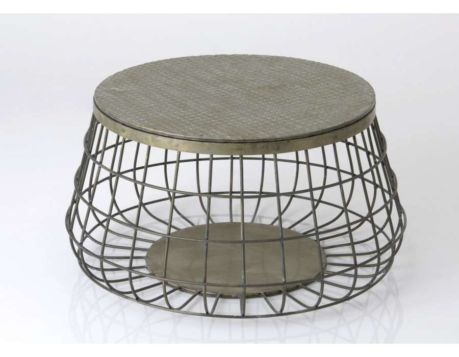 Table de salon m tal ronde avec plateau m tal vintage for Table ronde bois et metal