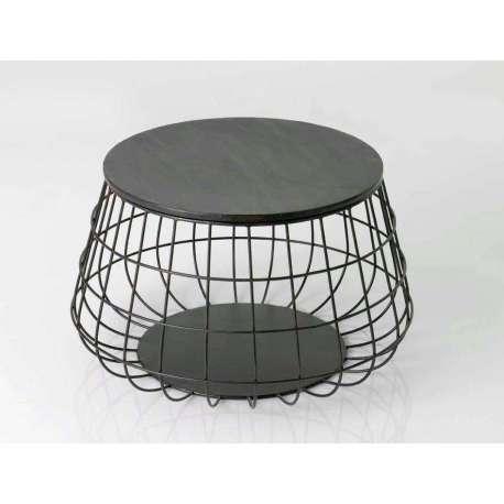 table basse ronde mtal noir grillage