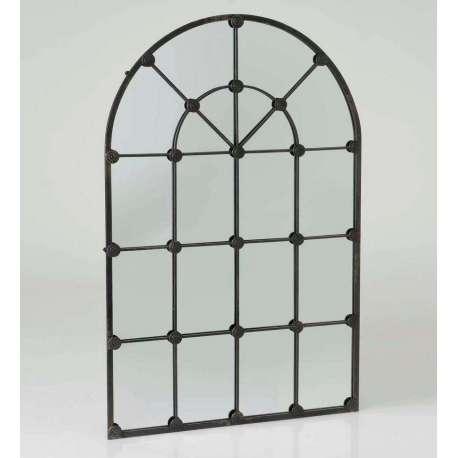 Grand miroir quadrillé métal noir grande demeure