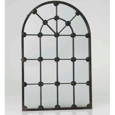Miroir grande demeure métal vieilli noir