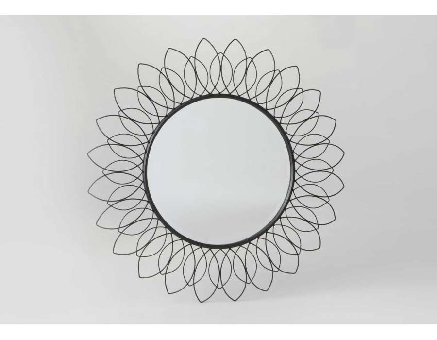 Miroir rond soleil filaire métal noir