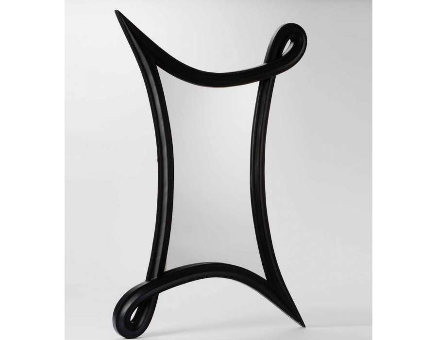 Miroir design noir mat de 90 cm amadeus for Miroir hauteur 90 cm