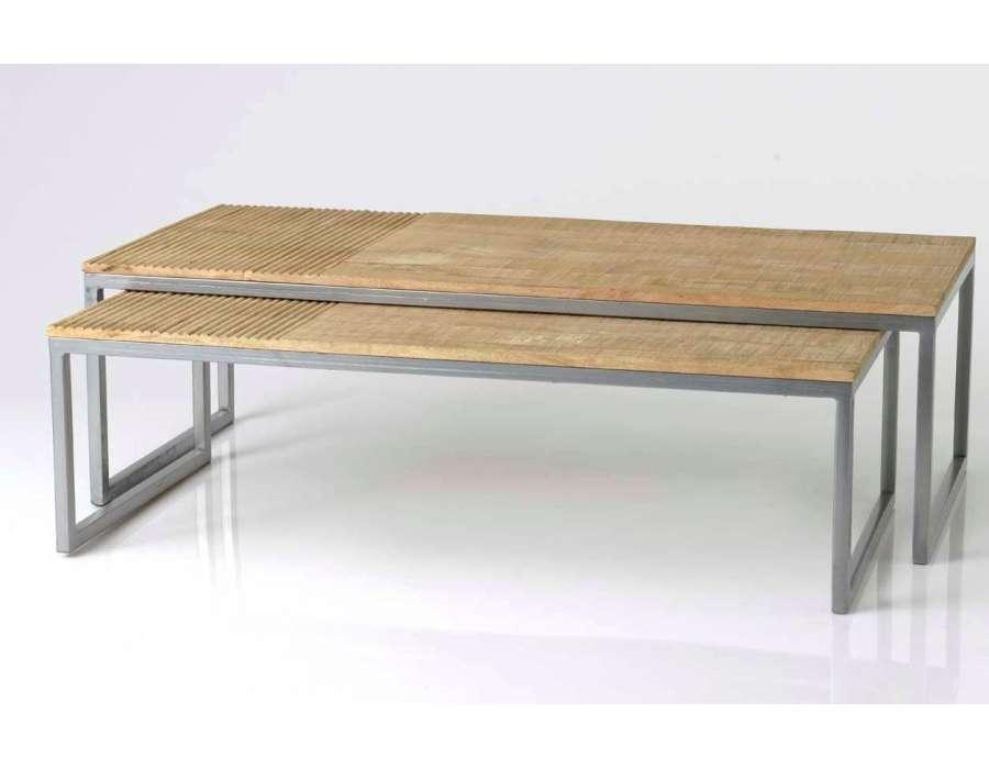 Table basse double gigogne métal gris et bois