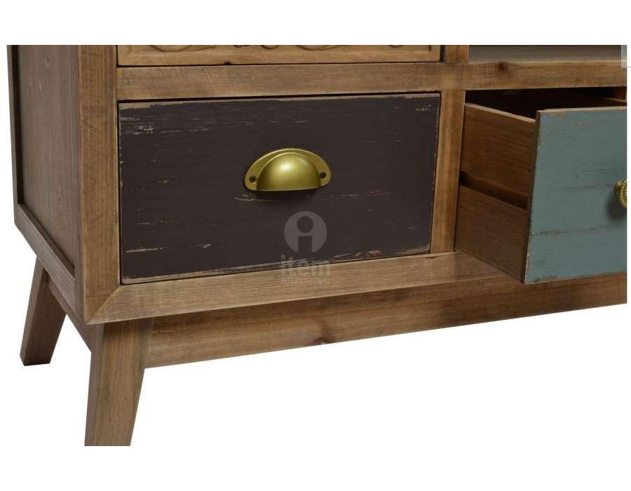 meuble t l color boh me chic pas cher 110 cm. Black Bedroom Furniture Sets. Home Design Ideas