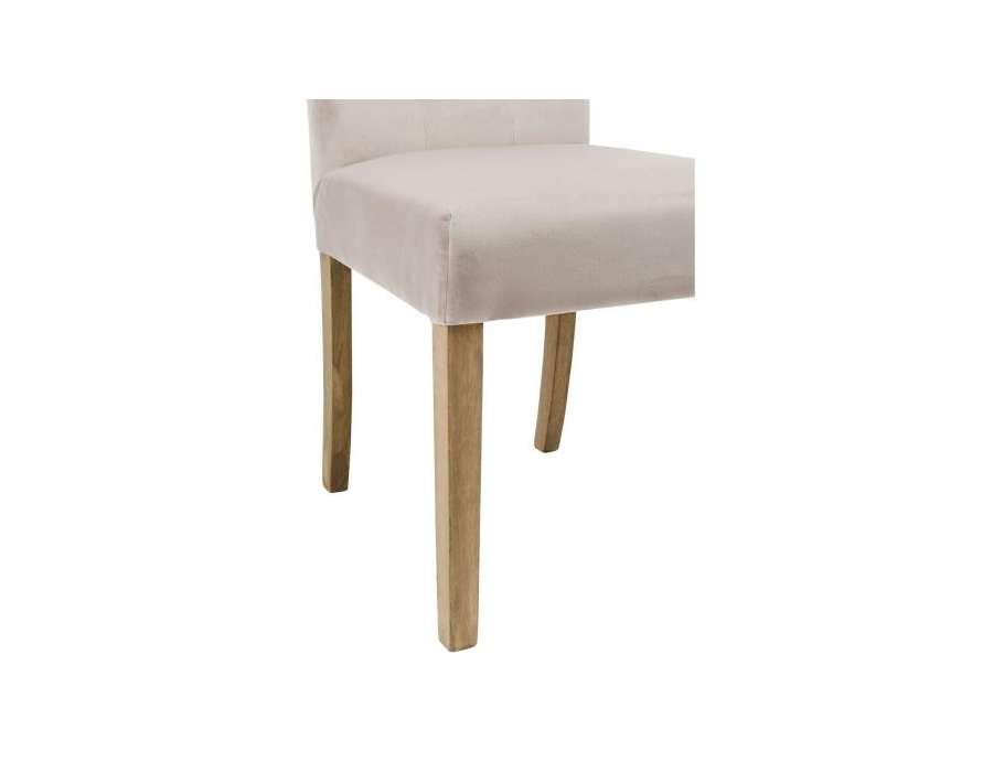 Chaise classique capitonnée velours ivoire par 2