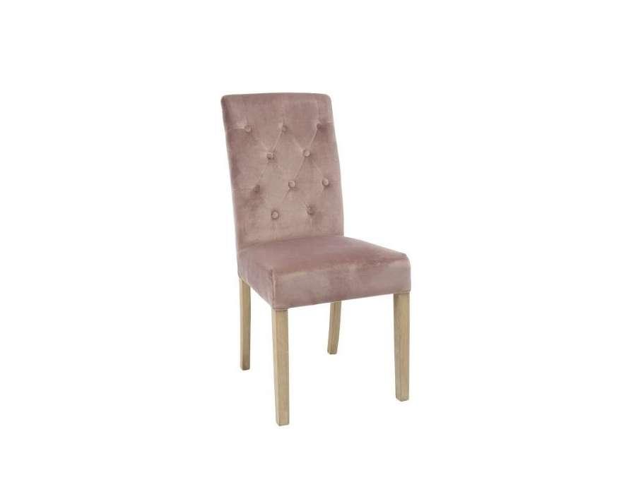 chaise capitonn e dossier haut vieux rose. Black Bedroom Furniture Sets. Home Design Ideas