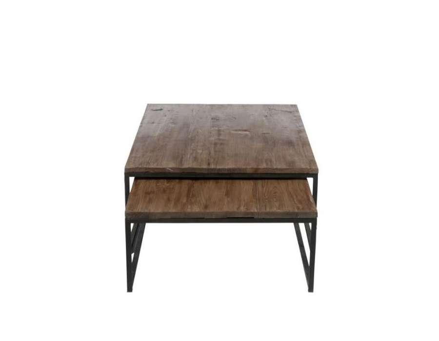 Table basse gigogne en m tal et bois jolipa for Table gigogne bois