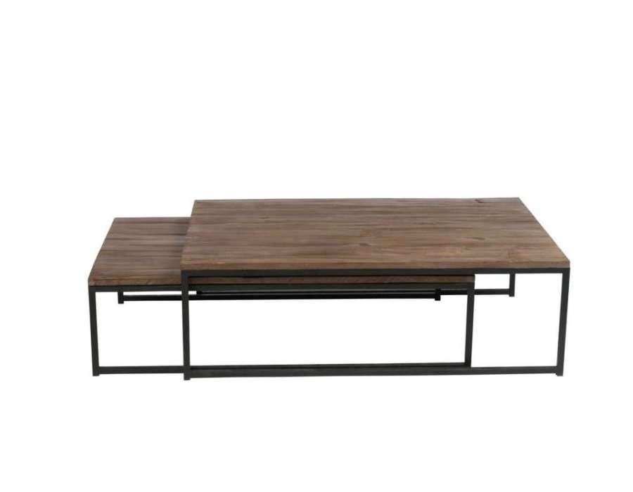Table de salon gigogne métal bois Jolipa