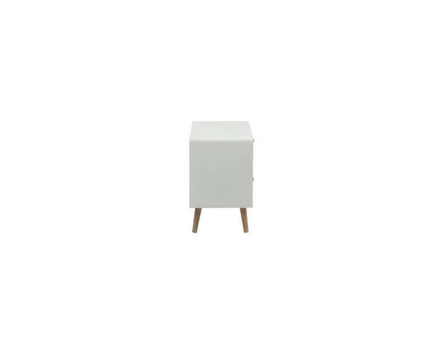 chevet blanc 3 tiroirs scandinave avec pieds obliques. Black Bedroom Furniture Sets. Home Design Ideas
