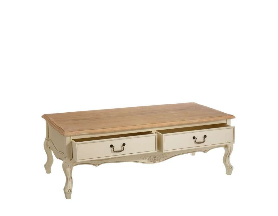 Table basse cr me galb e romantique pas chere for Table romantique