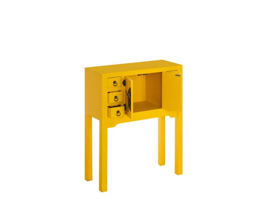 petite console chinoise jaune 6 tiroirs meuble chinois. Black Bedroom Furniture Sets. Home Design Ideas