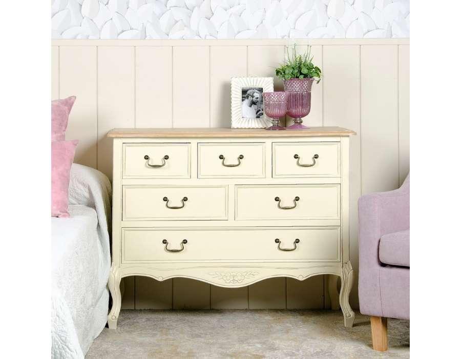 commode bois cr me 6 tiroirs pas chere louis xv. Black Bedroom Furniture Sets. Home Design Ideas