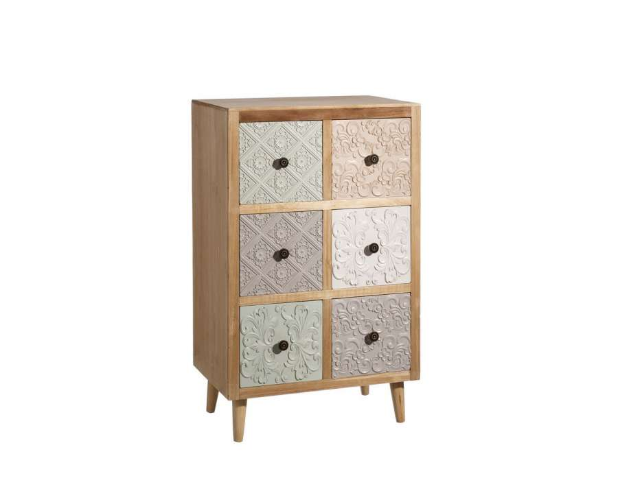 petit chiffonnier scandinave avec 6 tiroirs teinte clair. Black Bedroom Furniture Sets. Home Design Ideas