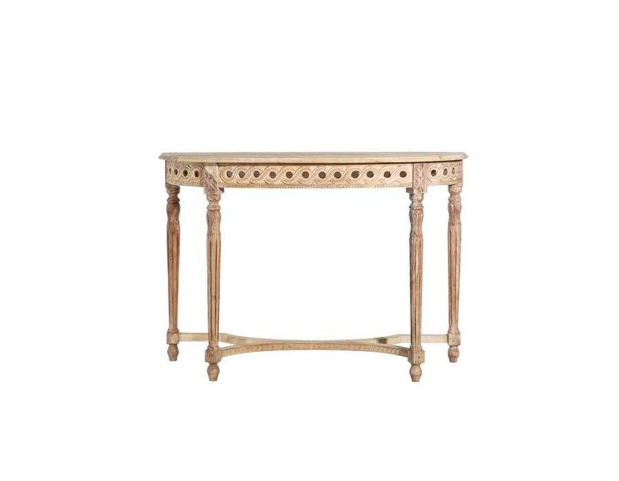 console demi lune galb e bois de manguier de 130 cm. Black Bedroom Furniture Sets. Home Design Ideas