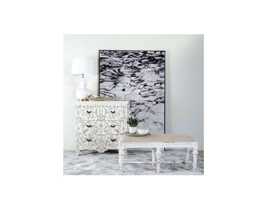 banquette chic en bois de manguier blanc vieilli et lin. Black Bedroom Furniture Sets. Home Design Ideas
