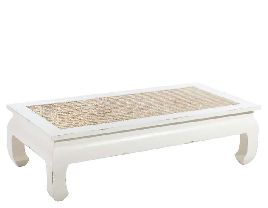 table basse blanche de 140 cm patin e avec du rotin. Black Bedroom Furniture Sets. Home Design Ideas