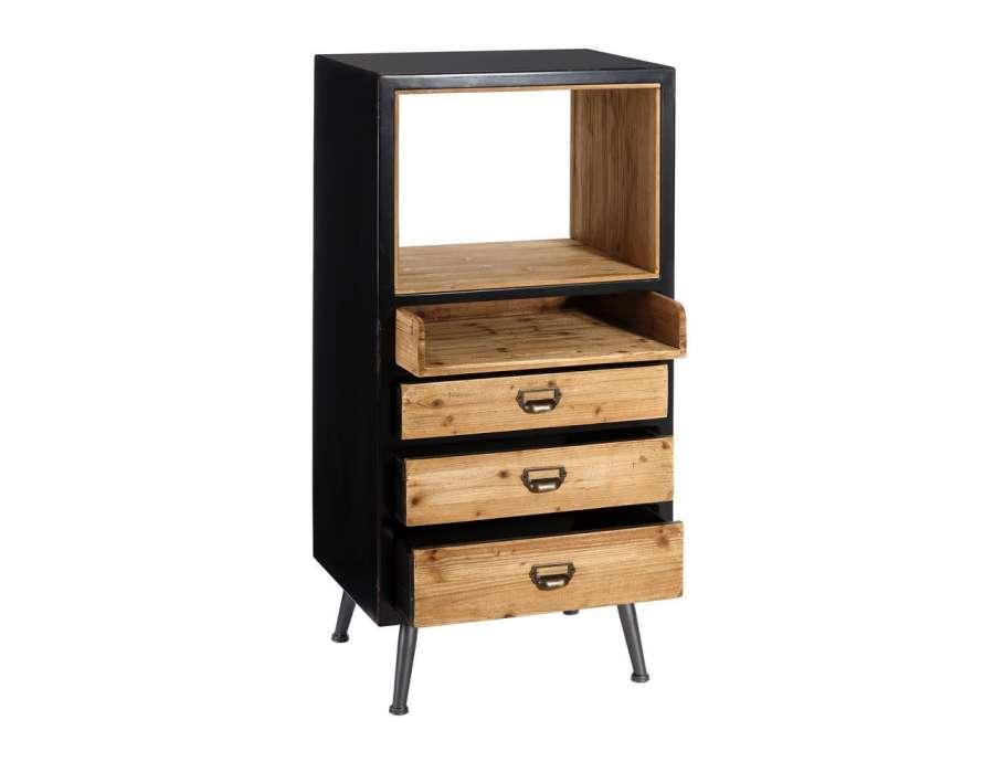 tag re basse industrielle m tal bois avec tiroirs amadeus. Black Bedroom Furniture Sets. Home Design Ideas