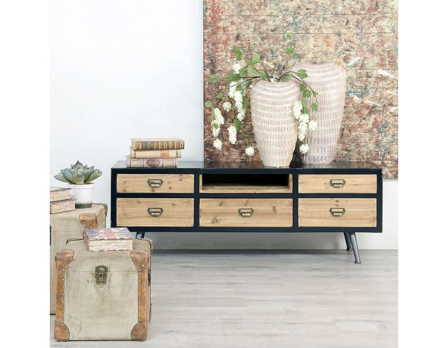 Meuble tv bois industriel avec niche et tiroirs for Meuble tv avec niche