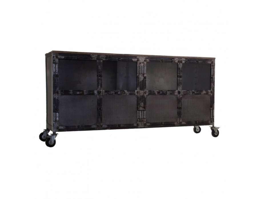 Buffet métal vieilli et bois sur roues Vical Home