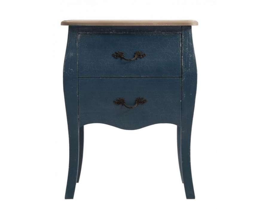 table de nuit baroque bleue craquel 233 pas cher