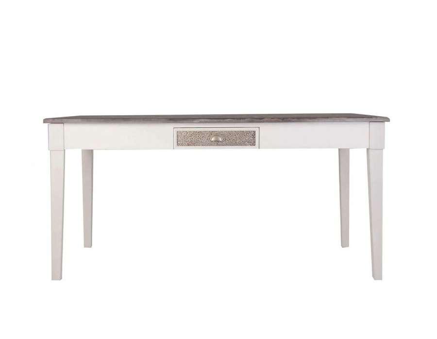 Table 160 cm blanche et bois Fès