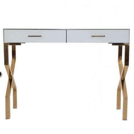 console blanche et dor e chic vitr e vical home. Black Bedroom Furniture Sets. Home Design Ideas