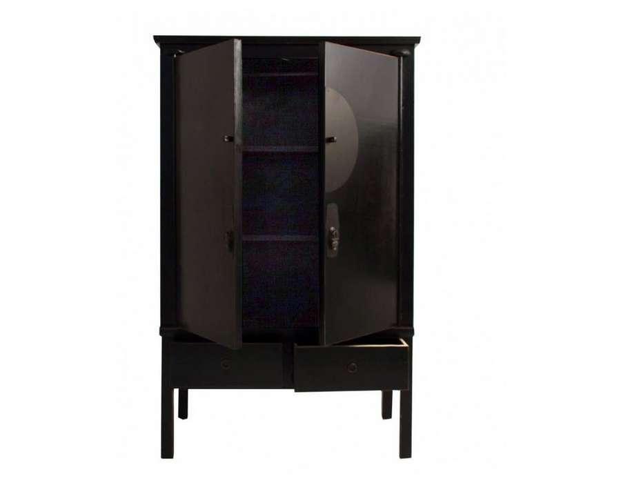 Grande armoire chinoise 2 portes noire