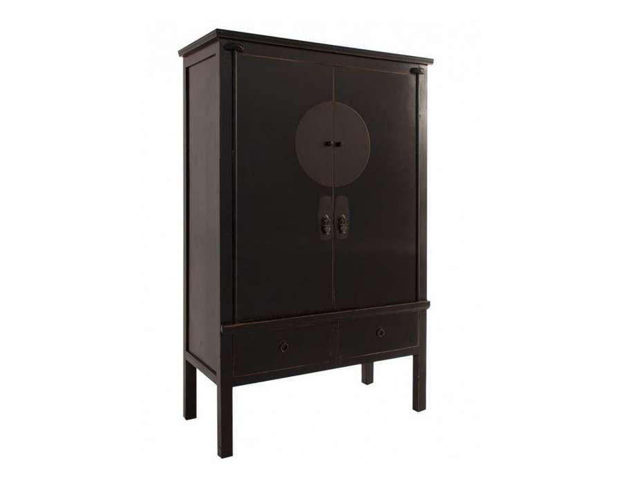 Grande armoire chinoise noire vical home - Armoire noire portes ...