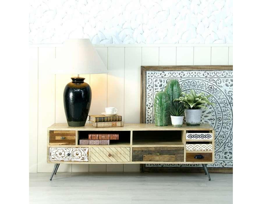 Meuble de télé avec tiroirs et niches en bois de manguier -> Meuble De Tele Retro