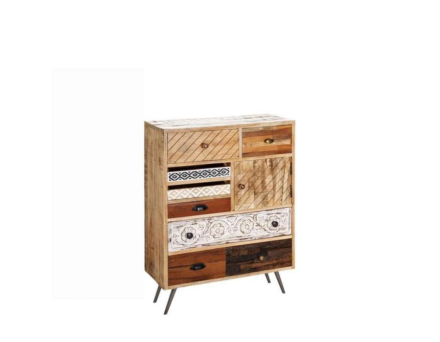 Chiffonnier large vintage avec tiroirs diff rents for Meuble en bois de manguier