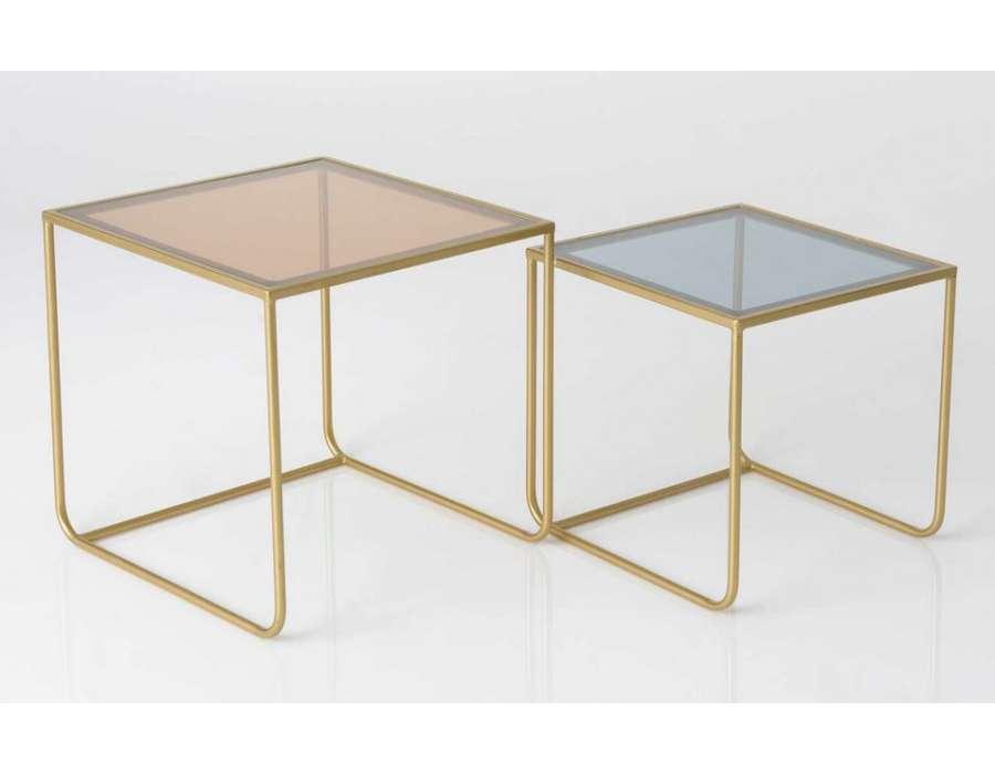 Tables d 39 appoint en gigogne plateau verre m tal dor for Bout de canape verre