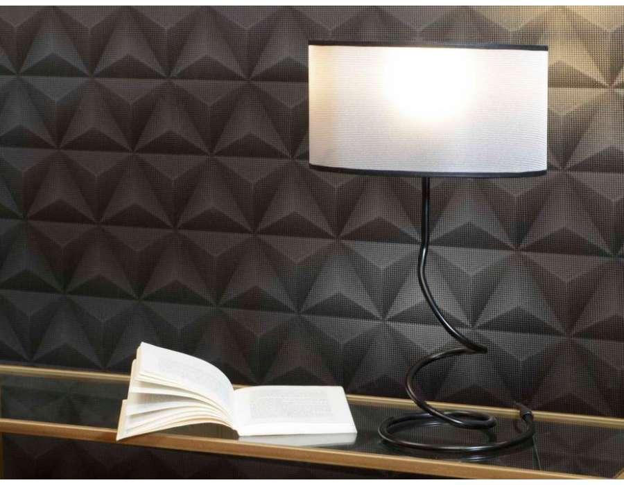 Lampe salon noir m tal design amadeus for Lampe de salon design