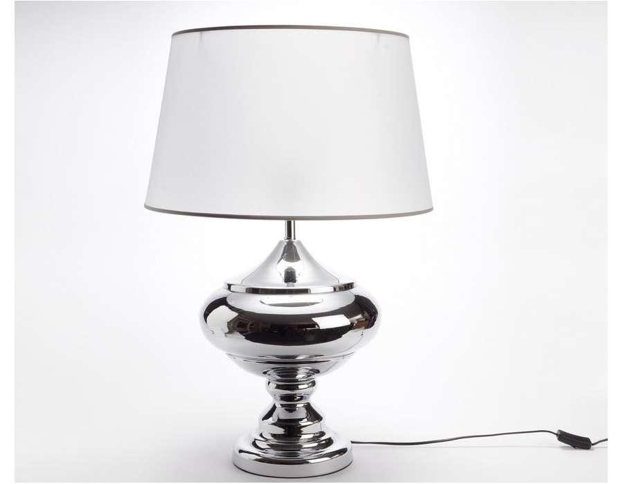 lampe chic pied chrom abat jour nacr amadeus. Black Bedroom Furniture Sets. Home Design Ideas