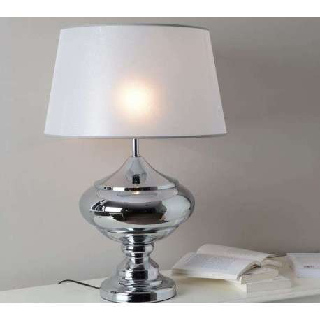 Lampe de salon chromée abat jour nacré