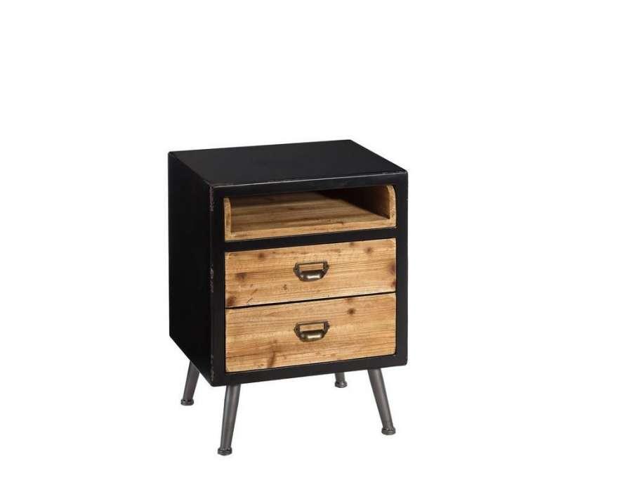 table de chevet vintage 2 tiroirs bois m tal. Black Bedroom Furniture Sets. Home Design Ideas