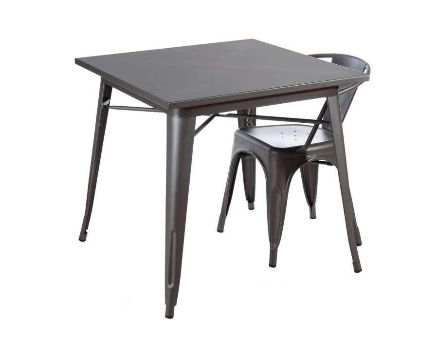 Table de cuisine carr e en m tal gris pas chere - Table cuisine carree ...