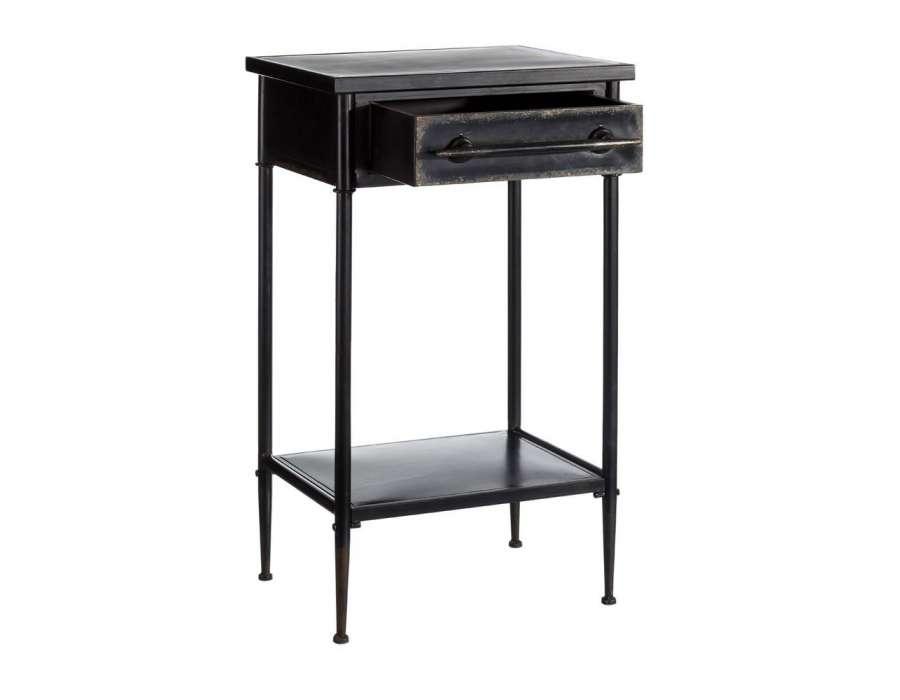 Table d 39 appoint m tal noir vieilli pas chere - Meuble d appoint metal ...