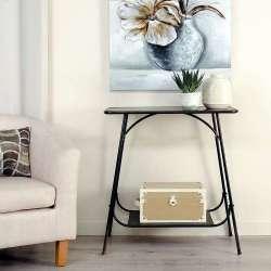Table console métal noir vieilli