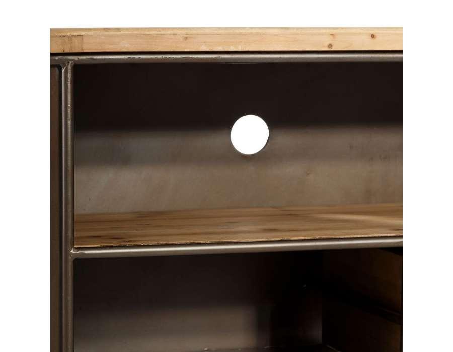 Meuble tv vintage 149 cm en bois et m tal industriel - Meuble tele industriel ...