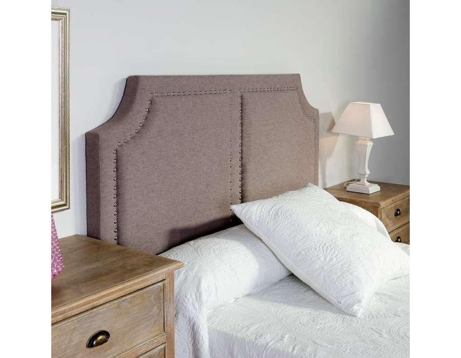 t te de lit 160 cm lisse clout e taupe pas chere. Black Bedroom Furniture Sets. Home Design Ideas