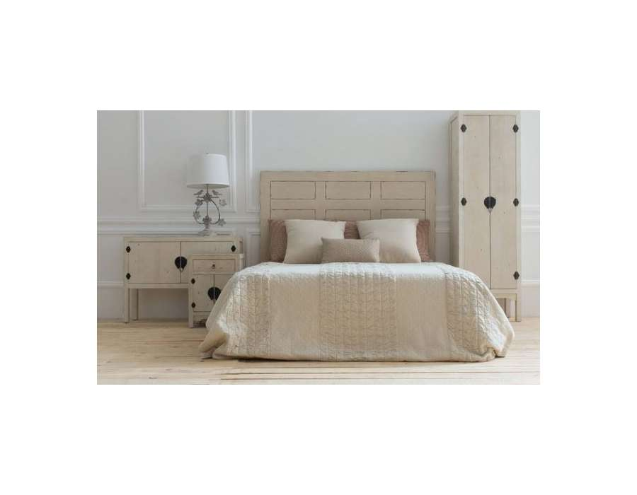 t te de lit 160 cm asiatique blanc vieilli vical home. Black Bedroom Furniture Sets. Home Design Ideas