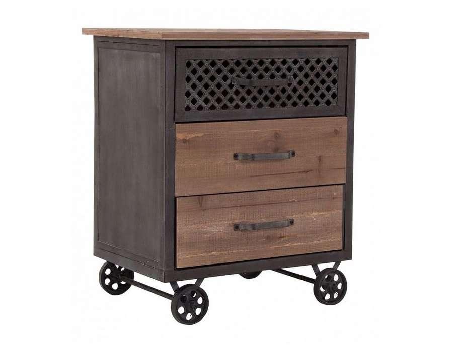 table de chevet industriel chevet table d 39 appoint r tro bois 1 tiroir pieds m tal ikea. Black Bedroom Furniture Sets. Home Design Ideas