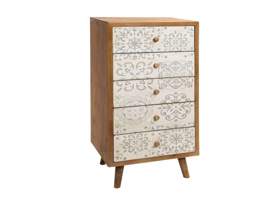 chiffonnier scandinave pas cher avec 5 tiroirs c rus tendance. Black Bedroom Furniture Sets. Home Design Ideas