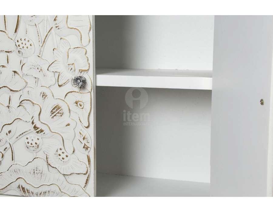 meuble japonais blanc avec 4 tiroirs sculpt pas cher. Black Bedroom Furniture Sets. Home Design Ideas