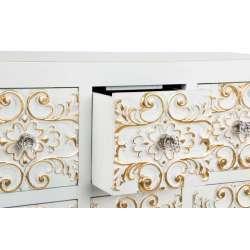 Meuble de rangement blanc arabesques dorées