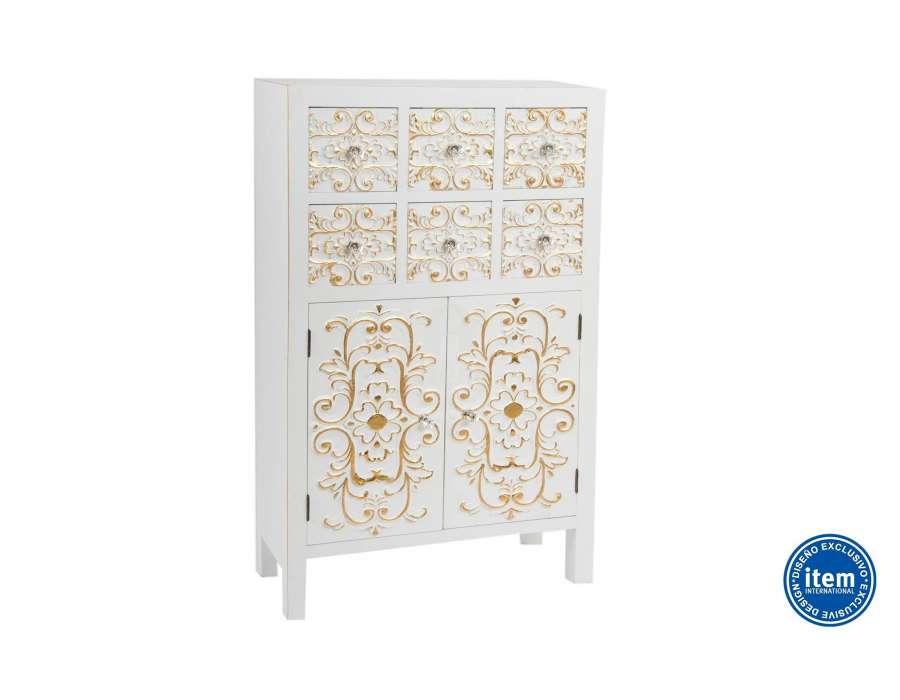 meuble japonais blanc avec 6 tiroirs dor s pas cher. Black Bedroom Furniture Sets. Home Design Ideas