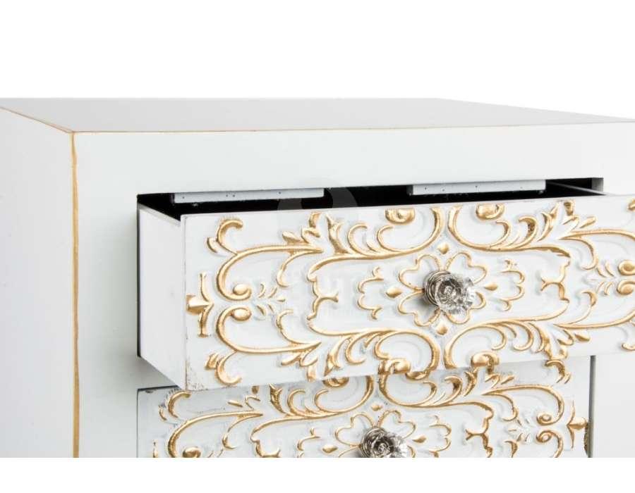 Chiffonnier japonais blanc arabesques dorées